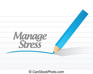 manage stress message illustration design over a white...