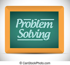 problem solving message on a chalkboard. illustration design...