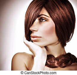 Gorgeous hairdo - Closeup portrait of of gorgeous model with...