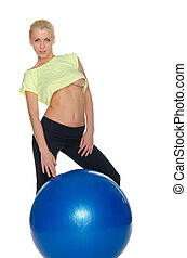 Sexy blonde with fitness ball