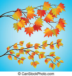 Set of autumn tree with colorful leaves, isolated on blue...