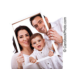 Happy family portrait isolated on white background, holding...