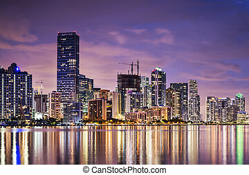 Miami Skyline - Skyline of Miami, Florida, USA over Biscayne...