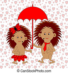 A funny cartoon couple with umbrella under the rain of hearts. A boy and a girl in love. Valentine's Day postcard. Vector-art illustration