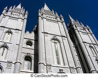 Mormon Temple - A panoramic view of the Mormon Temple in...
