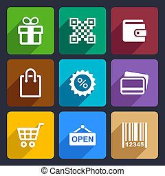 Shopping Flat Icons Set 35 - Set Flat pictogram supermarket...