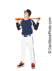 Young adult baseball player holding bat and thinking