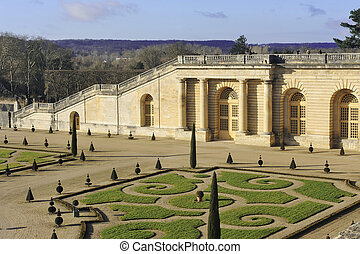 The orangery park of the castle of Versailles in alignment...