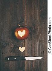 maçã, Coração, corte, aquilo