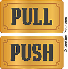 pull and push - gold door signs - suitable for door signs
