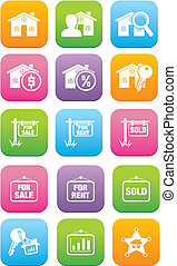 real estate flat style icon sets - suitable for user...