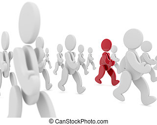 special person - red character walking in a crowd of white...