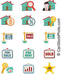 real esstate icon sets - flat icons - suitable for user...