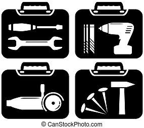 portfolio and tools for repair - black icons with portfolio...
