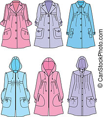 Raincoat - Vector illustration of womens raincoats