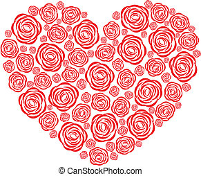 Rose heart - Vector illustration of a heart with roses