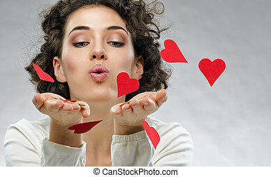 love letter - beautiful girl holding a heart
