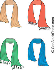 Scarf - Vector illustration of winter knitted scarfs