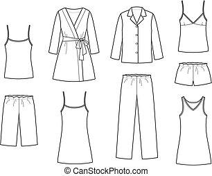Sleepwear - Vector illustration of women's sleepwear