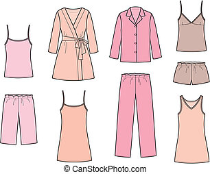 Sleepwear - Vector illustration of womens sleepwear