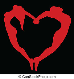 Silhouette of men and women in the form of heart.