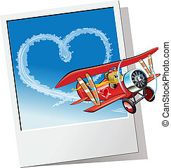 Cartoon Valentines Card - Cartoon biplane sending love...