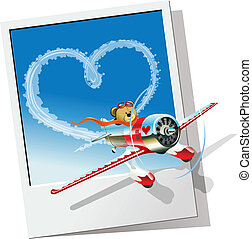 Cartoon airplane - Cartoon racing airplane sending love...