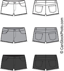 Jeans shorts - Vector illustration Set of jeans shorts Front...