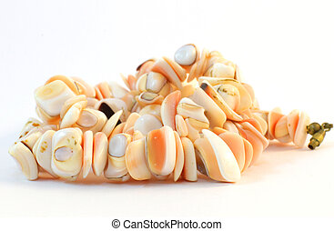 Coral beads - Beads of coral on a white background