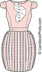 Dress - Vector illustration of womens romantic dress