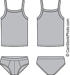 Underwear - Vector illustration of mens underwear Singlet...