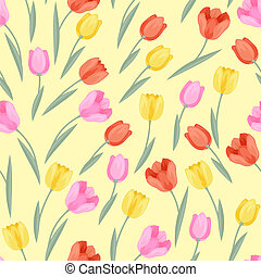 Spring flowers tulips natural seamless pattern