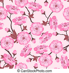 Spring flowers cherry natural seamless pattern.