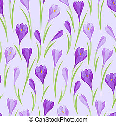 Spring flowers crocus natural seamless pattern.