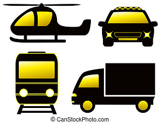 isolated transport silhouette - helicopter, train, taxi car...
