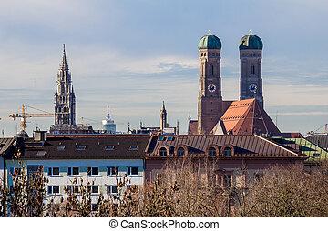 munich, cidade, telhados