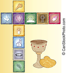 religion card - illustration of religion card with icons