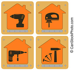 planch icons with house and tools - set repair planch icons...
