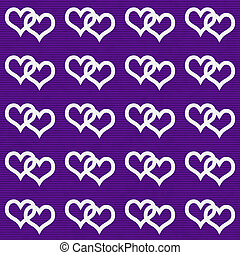 White Interwoven Hearts and Purple Thin Horizontal Stripes...