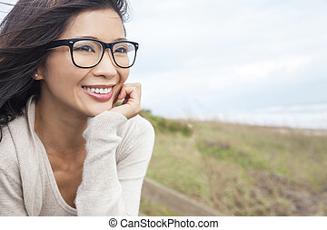 Chinese Asian Woman Wearing Glasses - Portrait of a...