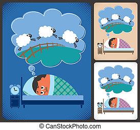 Insomnia - Cartoon illustration of man suffering from...