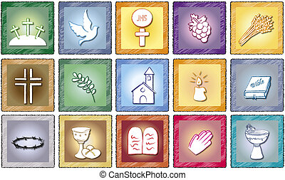 religion icons - illustration of religion icons isolated