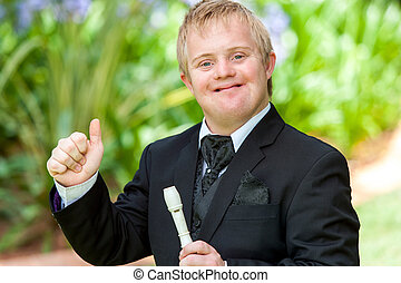 Disabled musician doing thumbs up. - Portrait of handicapped...