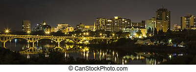 Saskatoon City Lights - The city of Saskatoon at night along...