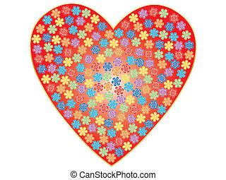 valentine with color flowers - red valentine with rainbow...