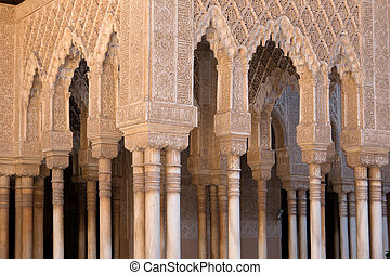 Moorish decorations - Moorish arches and columns of Alhambra...