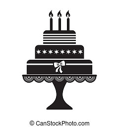 Birthday cake - Vector illustration of black silhouette...