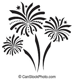 Fireworks - Beautiful black vector firework isolated on...