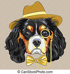 vector funny cartoon hipster dog King Charles Spaniel -...
