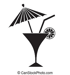 Cocktail - Black summer cocktail silhouette with lemon and...